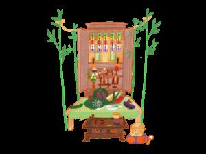 お盆のお供え物 飾り方2